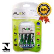 Kit 1 Carregador Flex FX-C03 + 4 Pilhas Recarregáveis Tipo Aaa 1100mAh