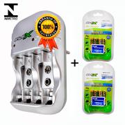 Kit 1 Carregador Flex FX-C03 + 8 Pilhas Recarregáveis Tipo Aaa 1000mAh FX-AAA10LB4