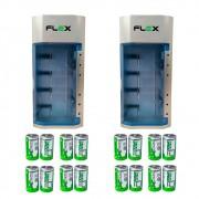Kit 2 Unidades Carregador Universal + 16 Pilhas Tipo D Flex