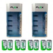 Kit 2 Unidades Carregador Universal + 8 Pilhas Tipo D Flex