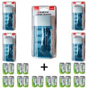 Kit 5 Unidades Carregador Universal + 20 Pilhas Tipo D Flex