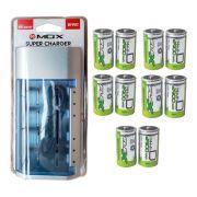 Kit Carregador Universal + 10 Pilhas Tipo D Grande Flex