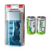 Kit Carregador Universal + 2 Pilhas Tipo D Grande Flex