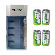 Kit Carregador Universal + 4 Pilhas Tipo D Grande Flex
