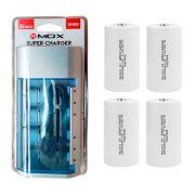 Kit Carregador Universal + 4 Pilhas Tipo D Rontek