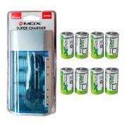 Kit Carregador Universal + 8 Pilhas Tipo D Grande Flex
