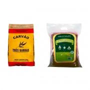 Kit Carvão Para Churrasco 2,5 Kg + Lenha Para Churrasco 6kg 100% De Eucalipto
