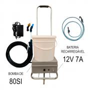 Lavadora a Bateria 12 Litros 80 PSI Com Carrinho