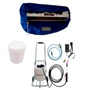 Lavadora Elétrica 12L 100PSI Carrinho + Bolsa Coletora até 36000 + Balde de Plástico com Tampa 12 Litros