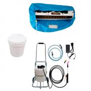 Lavadora Elétrica 12L 80PSI Carrinho + Bolsa Coletora até 18000 + Balde de Plástico com Tampa 12 Litros