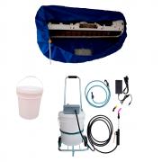 Lavadora Elétrica 18L 100PSI Carrinho + Bolsa Coletora até 36000 + Balde de Plástico com Tampa 18 Litros
