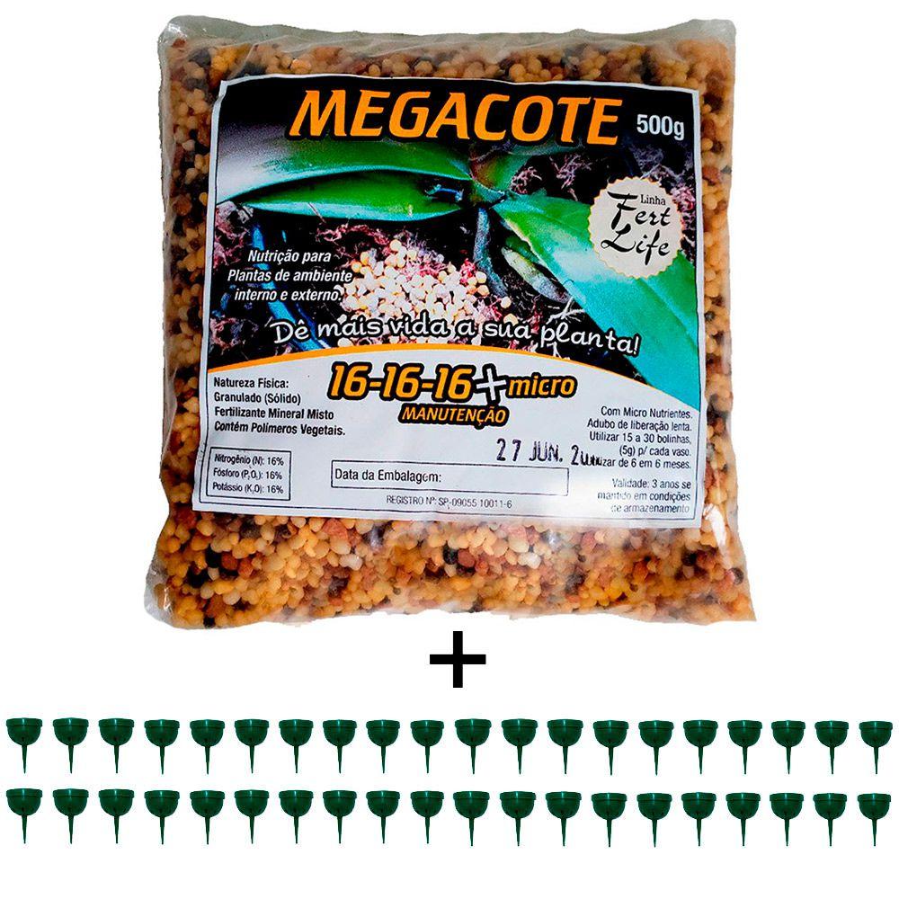 kit 1 Adubo Megacote 16-16-16 500g + 40 Unidades Porta Adubo