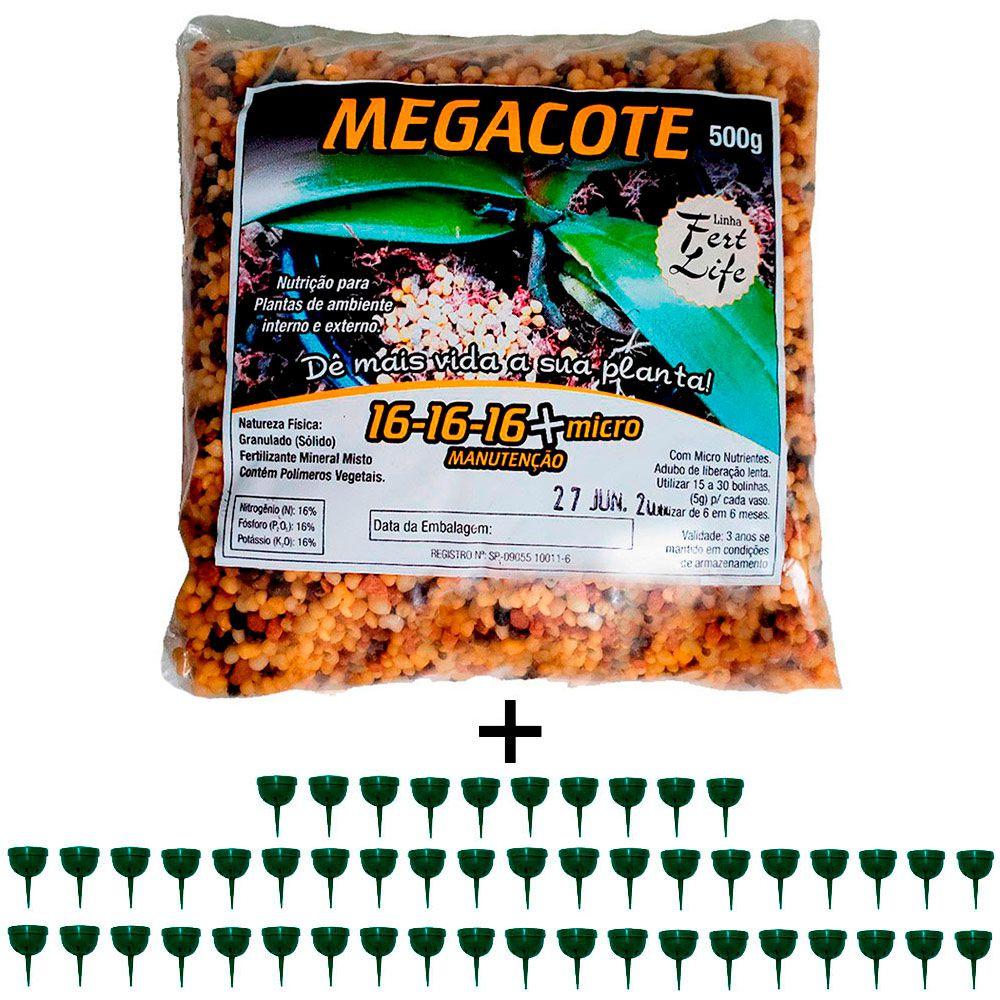 kit 1 Adubo Megacote 16-16-16 500g + 50 Unidades Porta Adubo