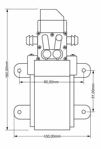 Kit 1 Motor Bomba 12v 100psi Ldc e 1 Mini Barra 4 Bicos