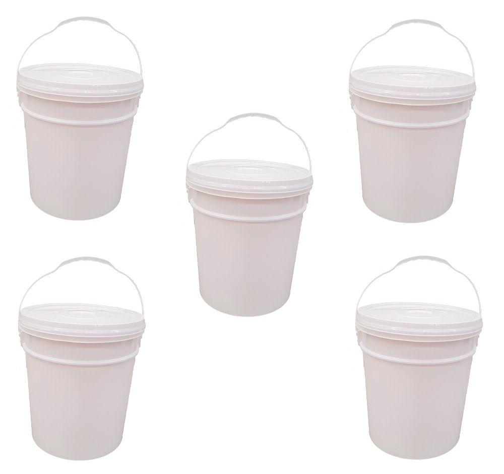 5 Unidades Balde de Plástico com Tampa 18 Litros