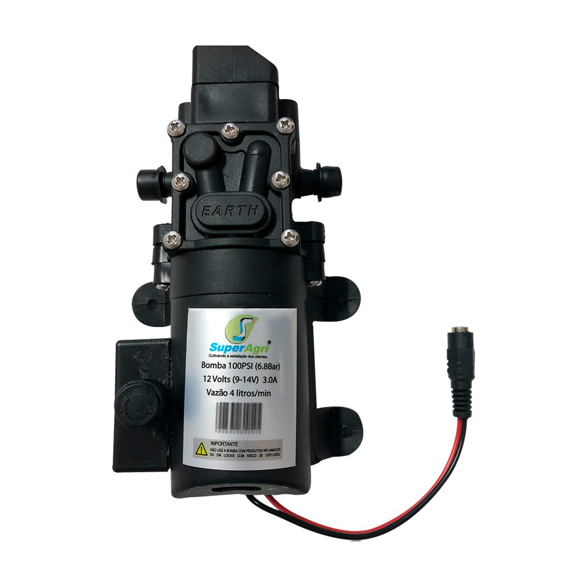 Bomba 100Psi + Fonte + Plug + Controle Pressão + Lança + Gatilho + Mangueira