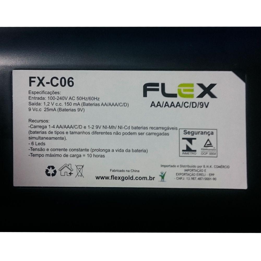 Carregador De Pilhas Aa/Aaa/C/D/9v Universal FX-C06 Flex