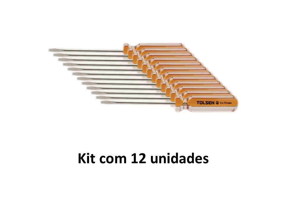 Kit 12 Unidades Chave de Fenda Magnética 03 X 75mm