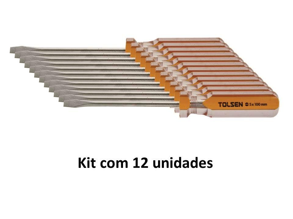 Kit 12 Unidades Chave de Fenda Magnética 05 X 100mm
