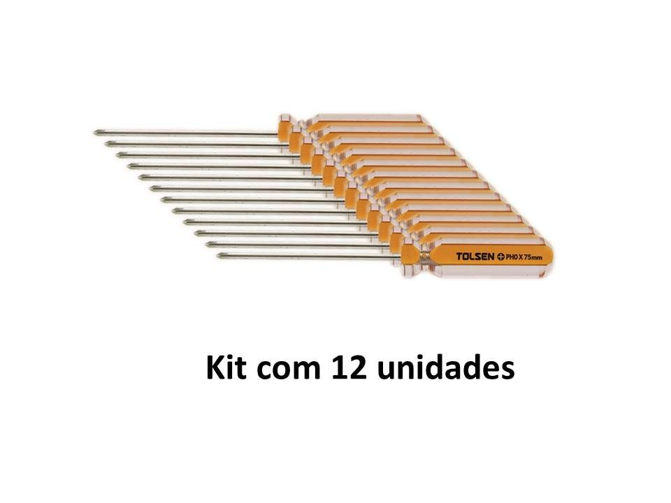 Kit 12 Unidades Chave Philips Magnética PH0 X 75mm