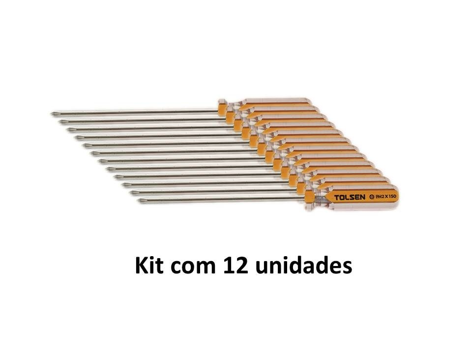 Kit 12 Unidades Chave Philips Magnética PH2 X 150mm