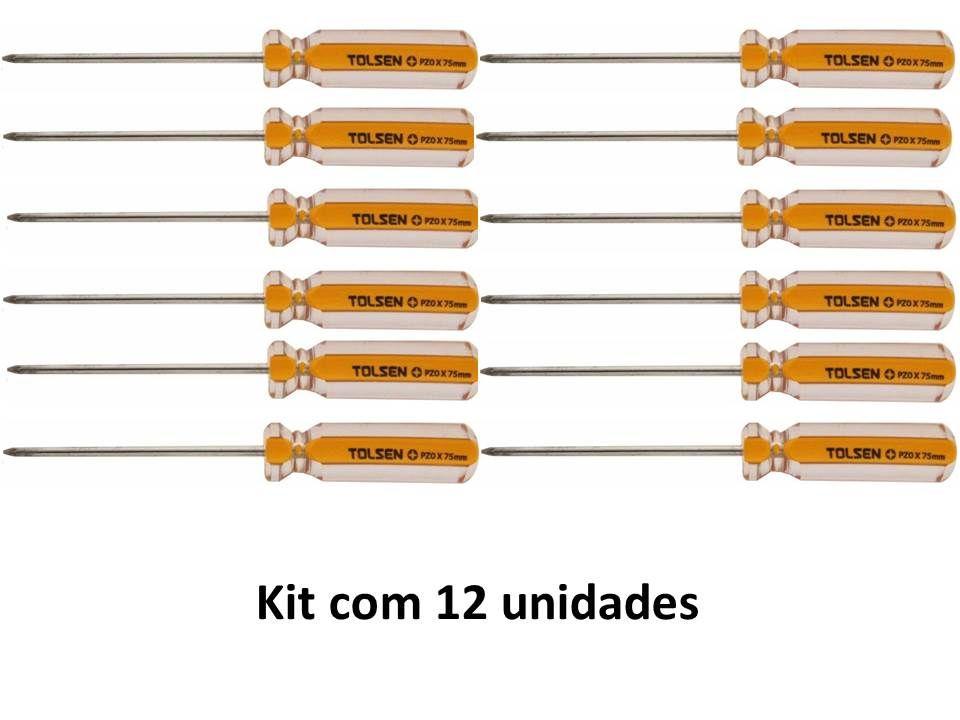 Kit 12 Unidades Chave Philips Magnética PZ0 X 75mm