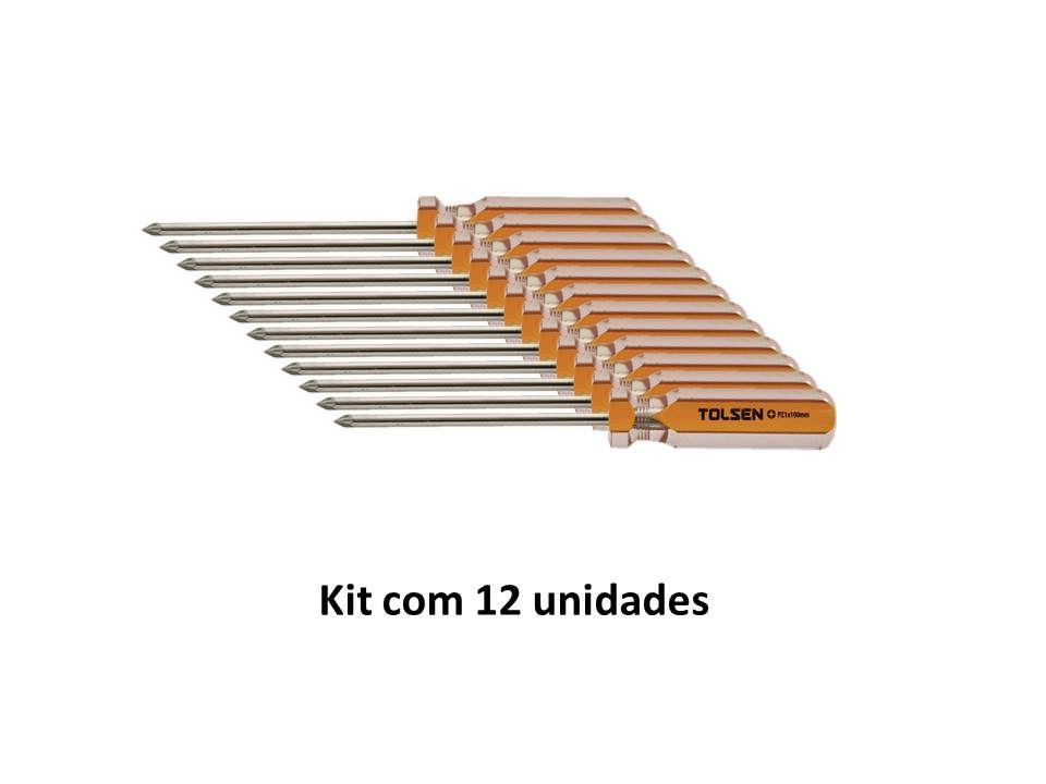 Kit 12 Unidades Chave Philips Magnética PZ1 X 100mm