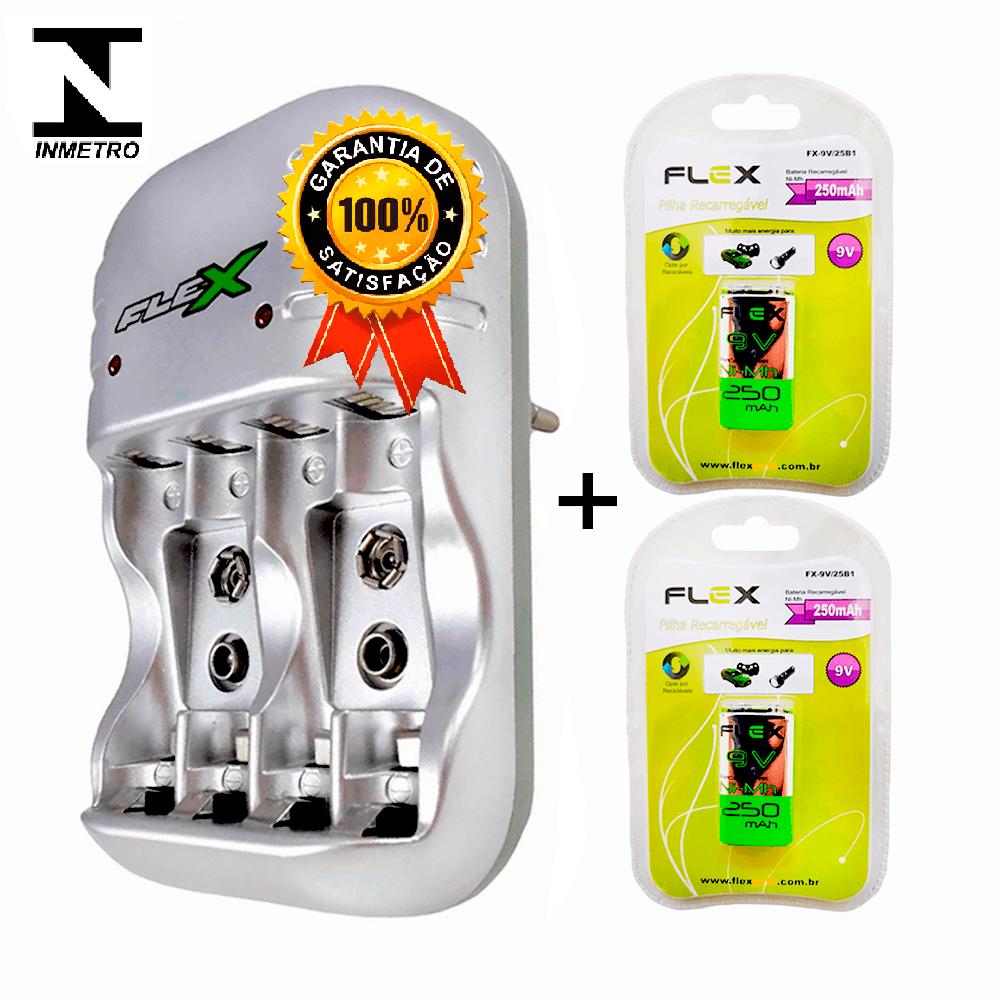Kit 1 Carregador Flex FX-C03 + 2 Baterias Recarregáveis Tipo 9v 250mAh FX-9V/450