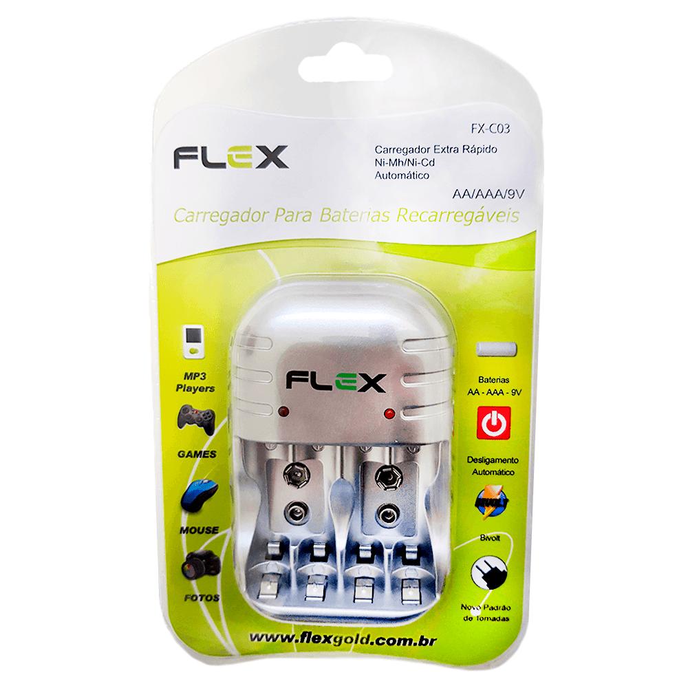 Kit 1 Carregador Flex FX-C03 + 16 Pilhas Recarregáveis Tipo Aaa 1000mAh FX-AAA10LB4