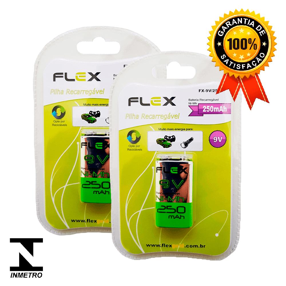 Kit 2 Baterias Recarregáveis Flex 250mah 9v