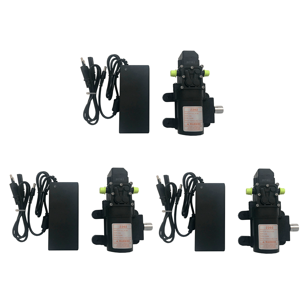 Kit 3 Motores Bomba Diafragma 100 Psi + 3 Fontes Alimentação + 3 Controles de Pressão