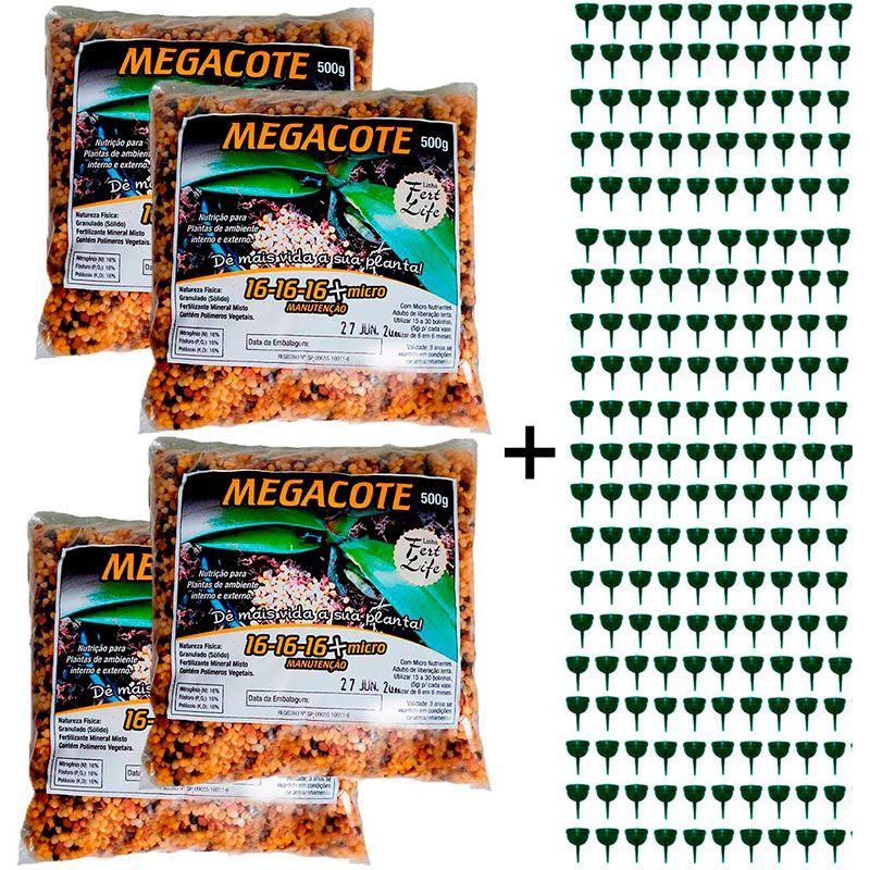 kit 4 Adubo Megacote 16-16-16 500g + 200 Unidades Porta Adubo