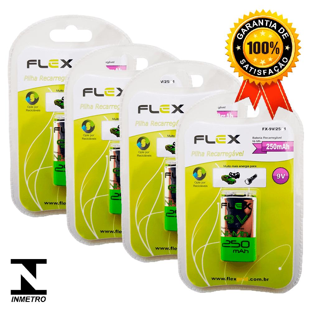Kit 4 Baterias Recarregáveis Flex 250mah 9v
