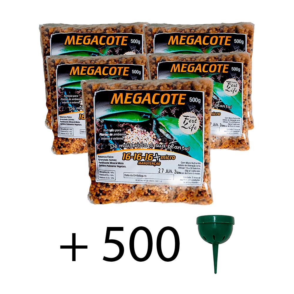 kit 5 Adubo Megacote 16-16-16 500g + 500 Unidades Porta Adubo