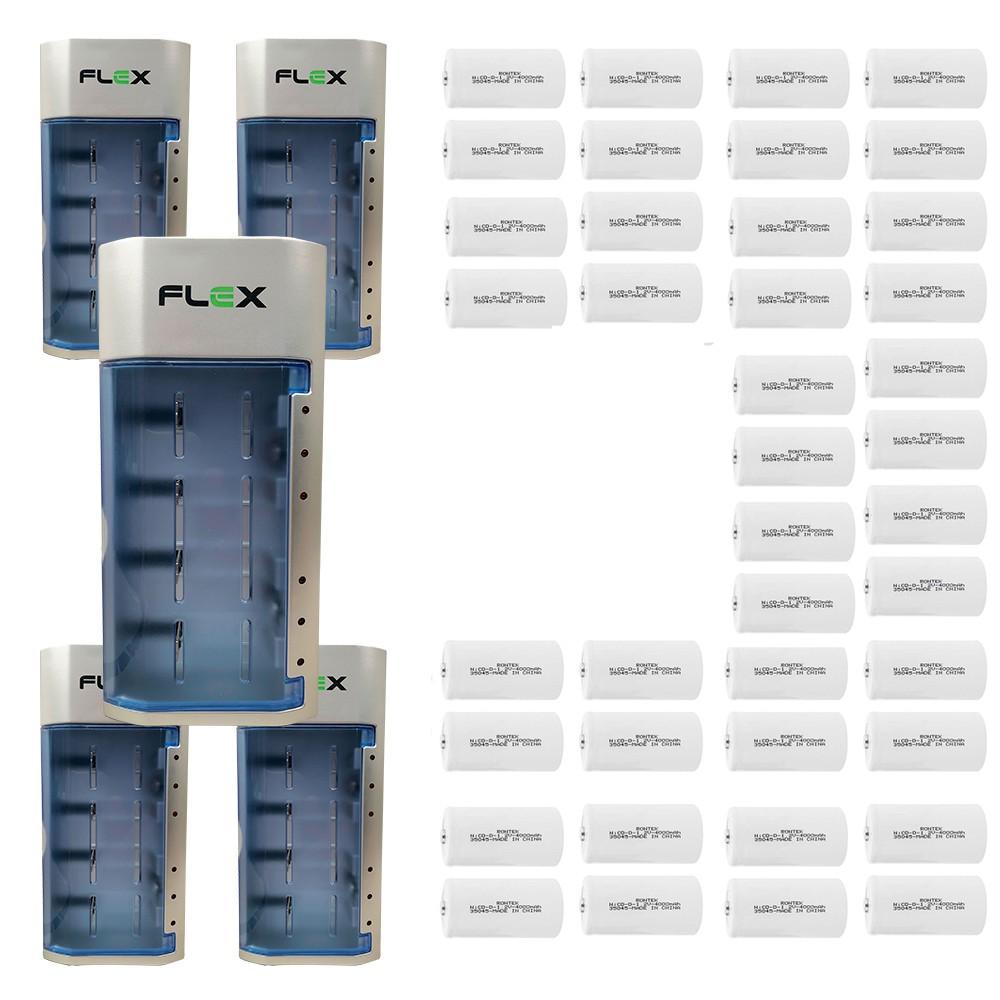 Kit 5 Unidades Carregador Universal + 40  Pilhas Tipo D Rontek
