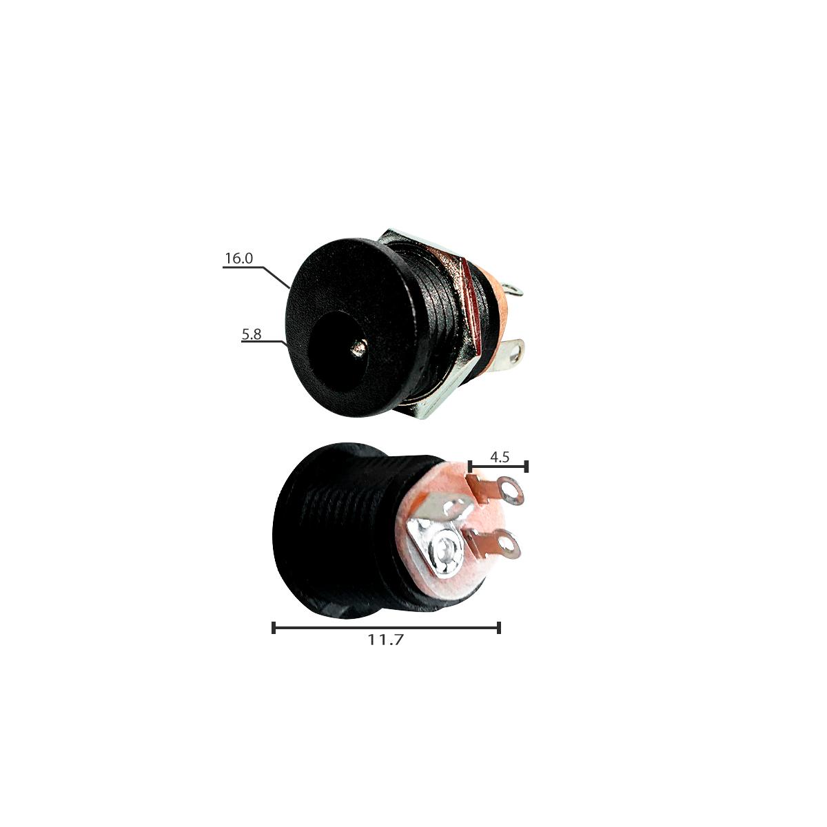 Kit 5 Unidades Conector Plug De Energia P4 Macho + 5 Unidades Plug Jack Tipo P4 Fêmea Com Rosca