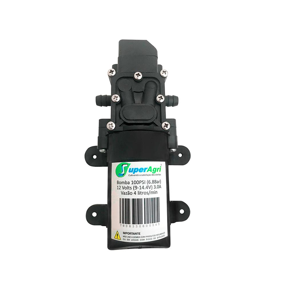 Kit Bomba Diafragma 12v 100psi Controle De Pressão e Mini Barra