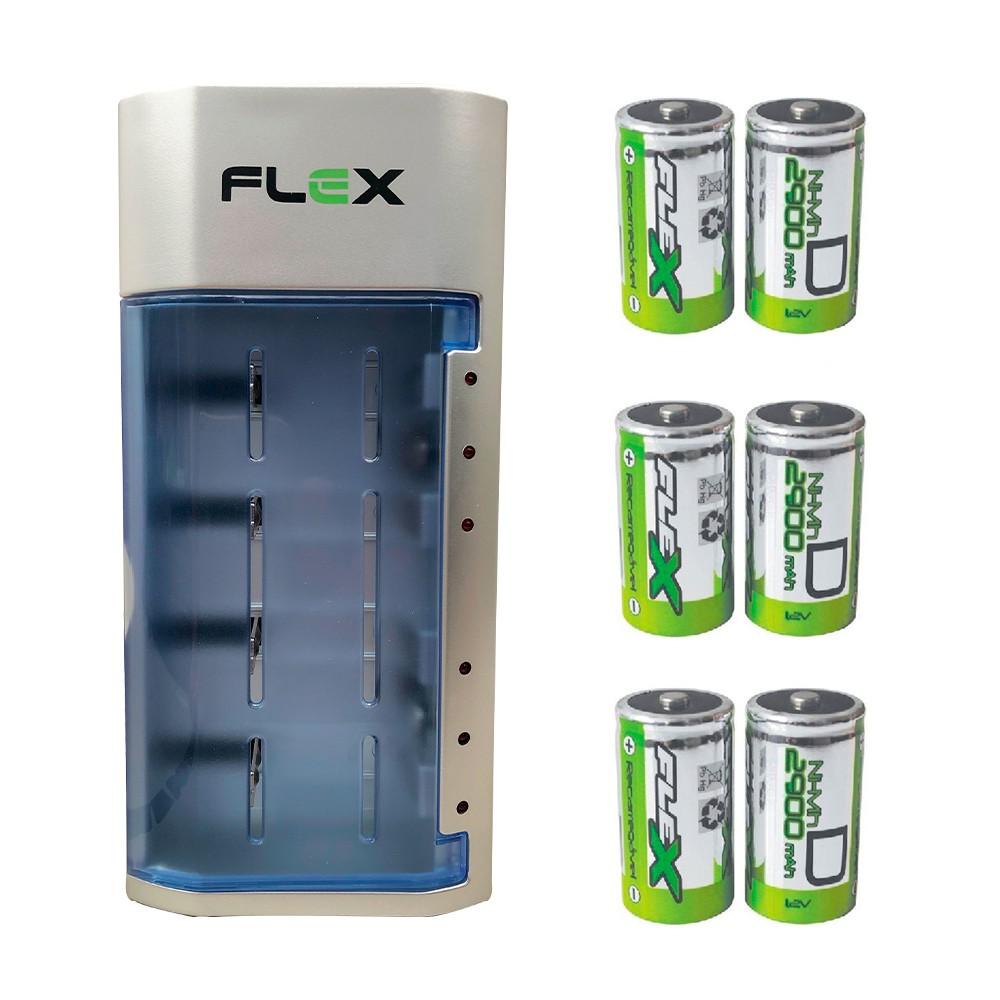 Kit Carregador Universal + 6 Pilhas Tipo D Grande Flex