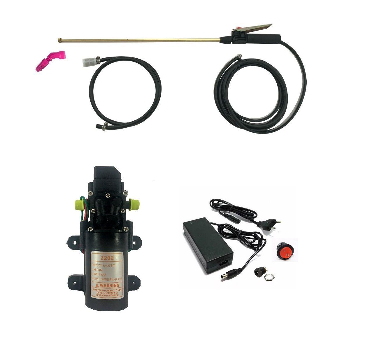 Kit Motor Diafragma 100Psi, Fonte com Conexões, Botão, Lança e Gatilho