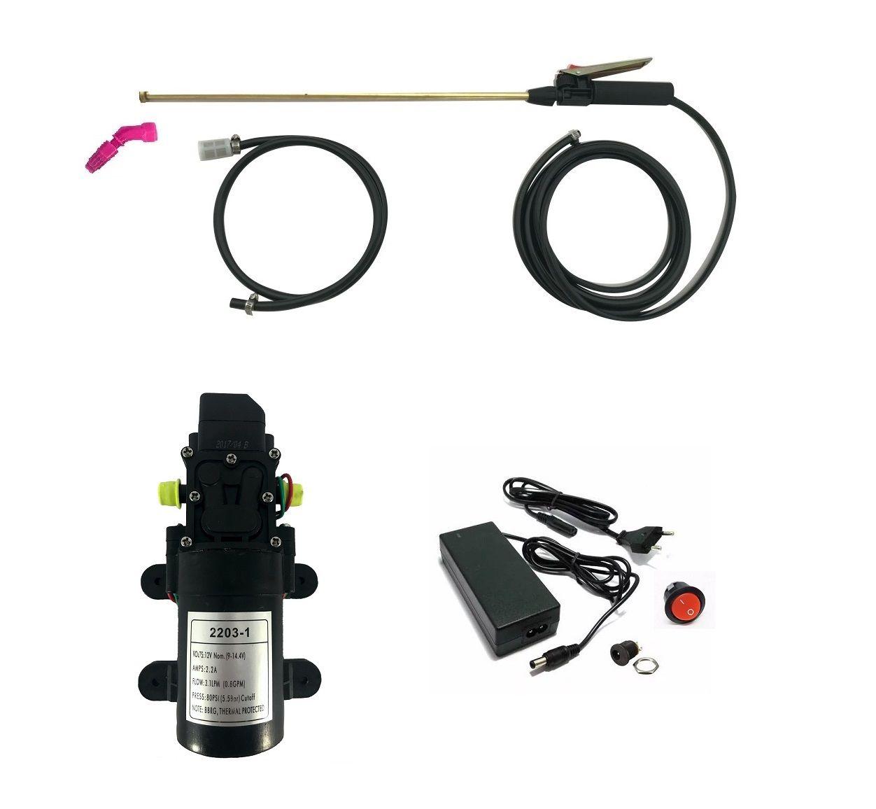 Kit Motor Diafragma 80Psi, Fonte com Conexões, Botão, Lança e Gatilho