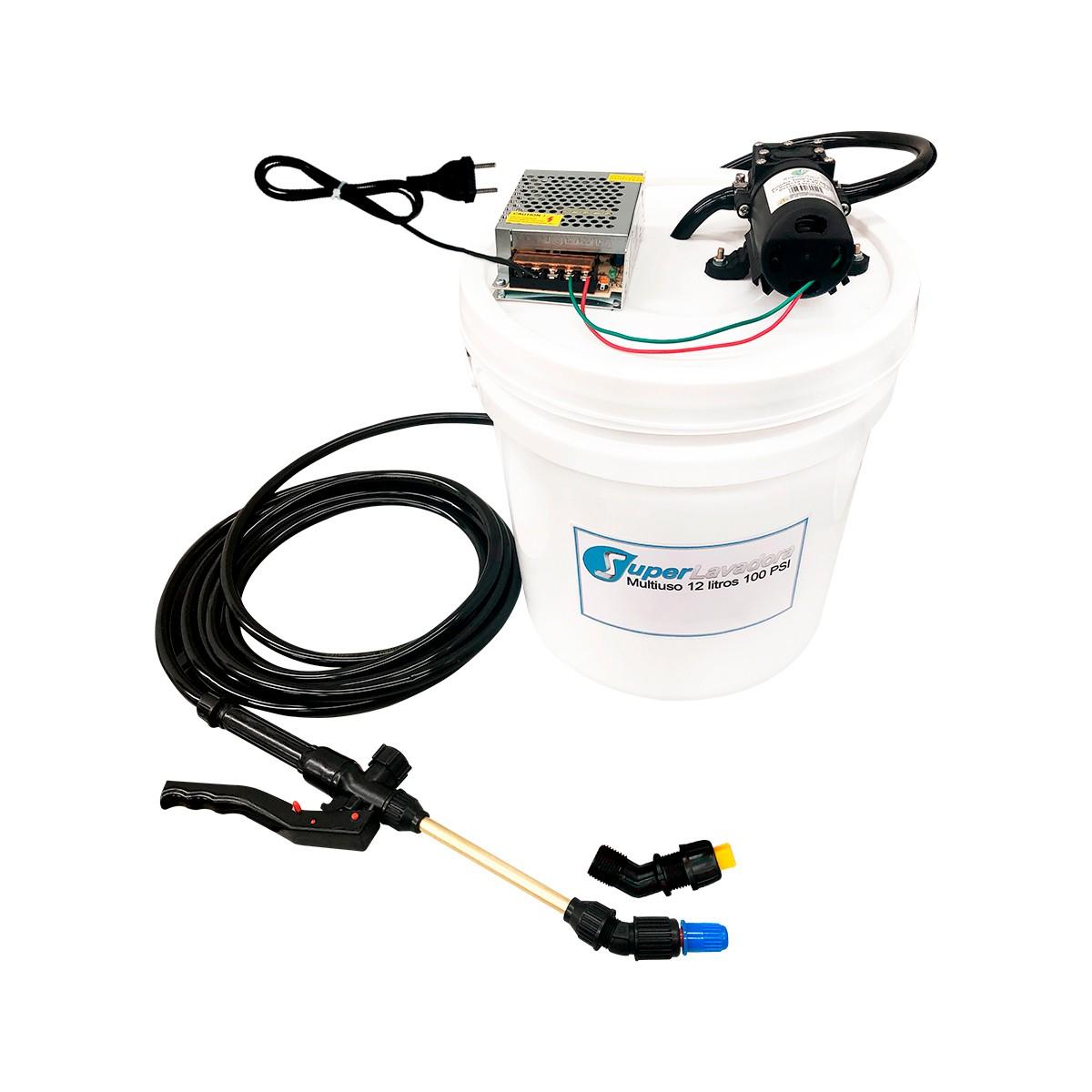 Lavadora Elétrica 12L 100PSI Carrinho + Bolsa Coletora até 12000 + Balde de Plástico com Tampa 12 Litros