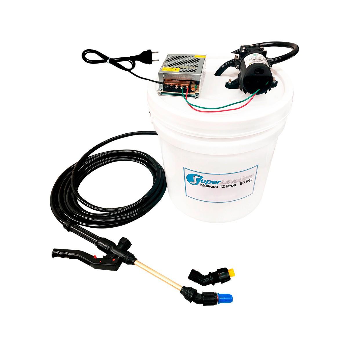 Lavadora Elétrica 12L 80PSI Carrinho + Bolsa Coletora até 12000 + Balde de Plástico com Tampa 12 Litros