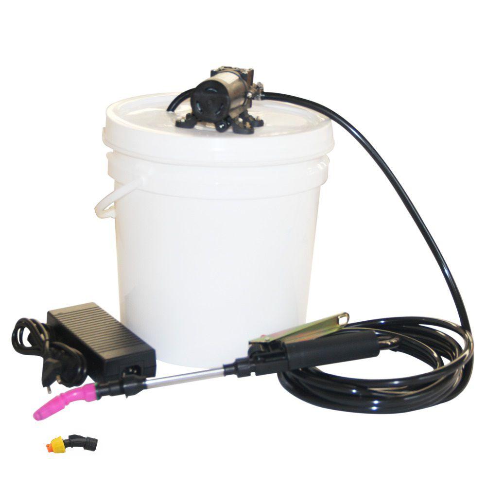 Lavadora Elétrica 12L 80PSI Carrinho + Bolsa Coletora Piso Teto + Balde de Plástico com Tampa 12 Litros