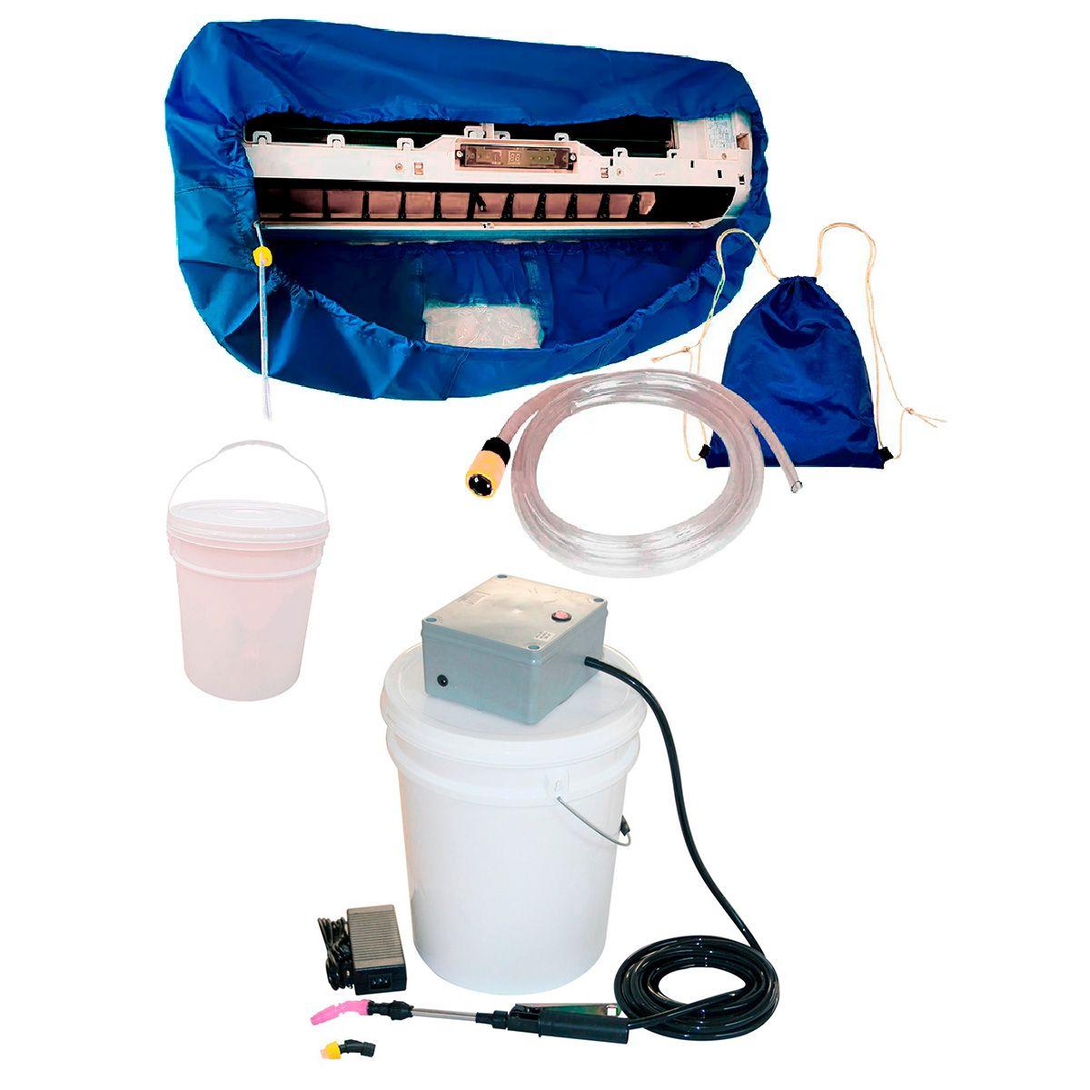Lavadora Elétrica 18L 100 PSI Caixa Proteção + Bolsa Coletora Até 12000 BTUS + Balde de Plástico 18L