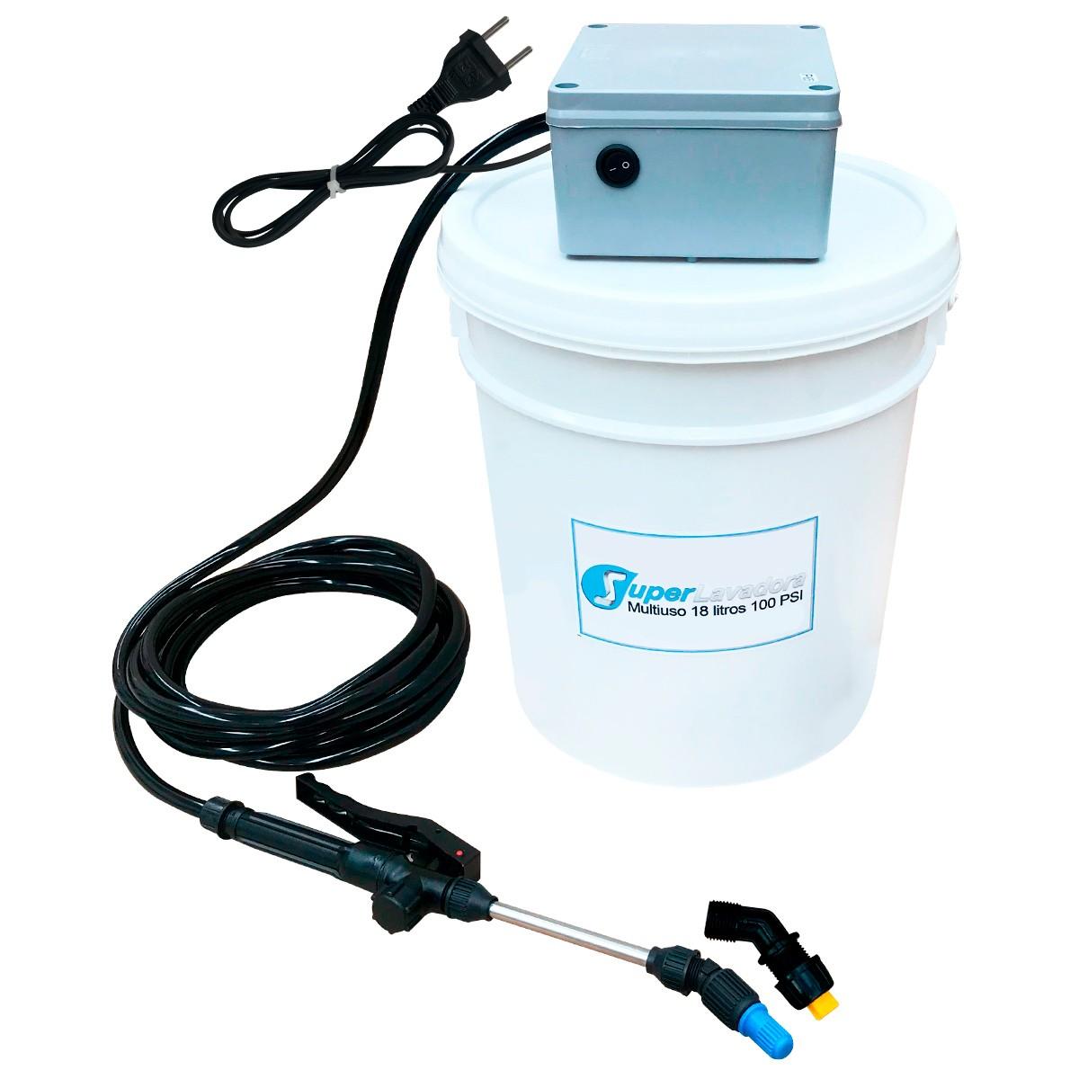 Lavadora Elétrica 18L 100PSI Carrinho + Bolsa Coletora até 12000 + Balde de Plástico com Tampa 18 Litros