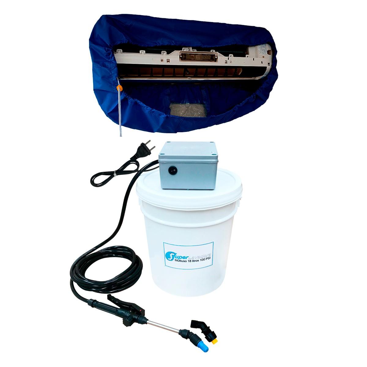 Lavadora Elétrica 18L 100PSI Carrinho + Bolsa Coletora até 36000 BTUS