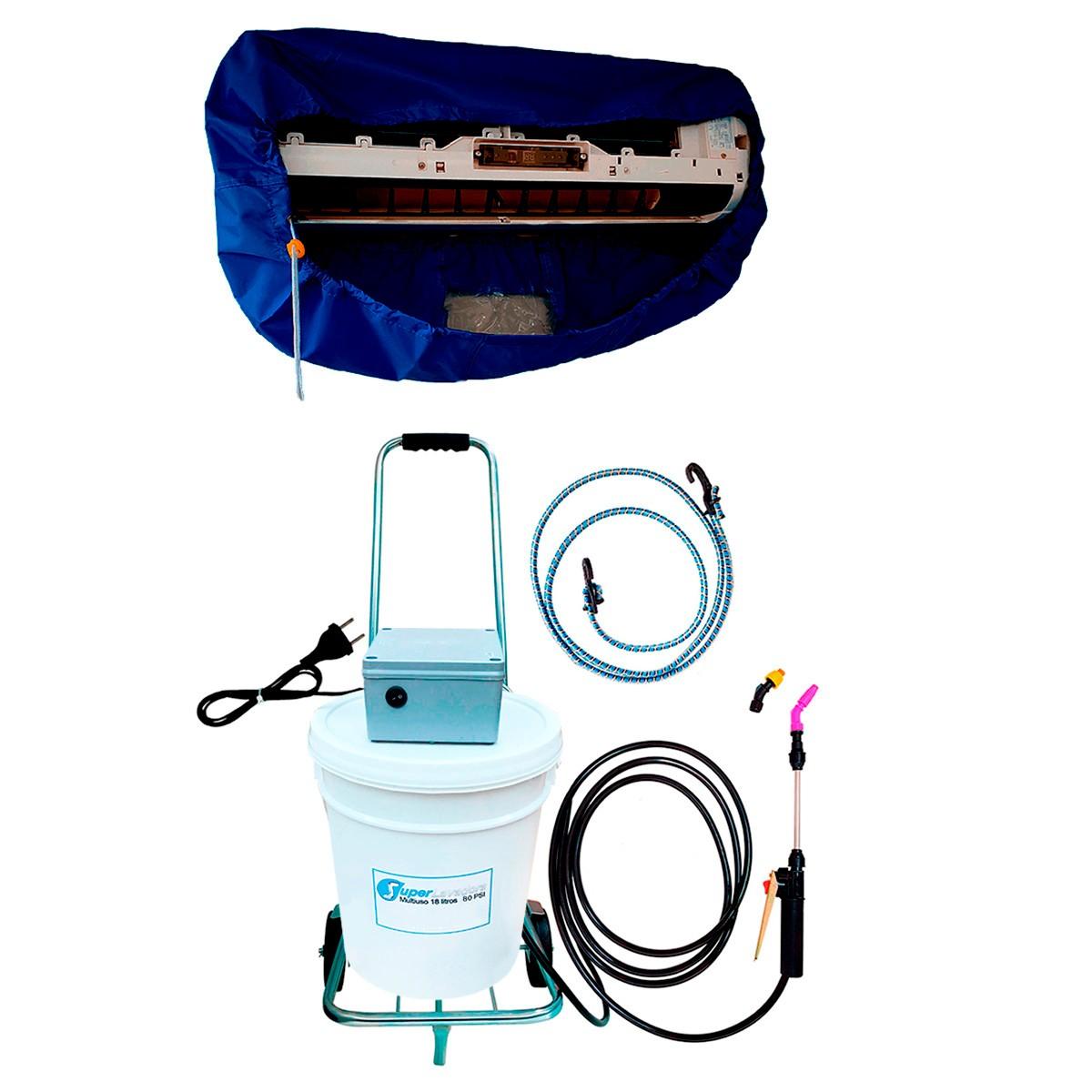 Lavadora Elétrica 18L 80PSI Carrinho + Bolsa Coletora até 36000 BTUS