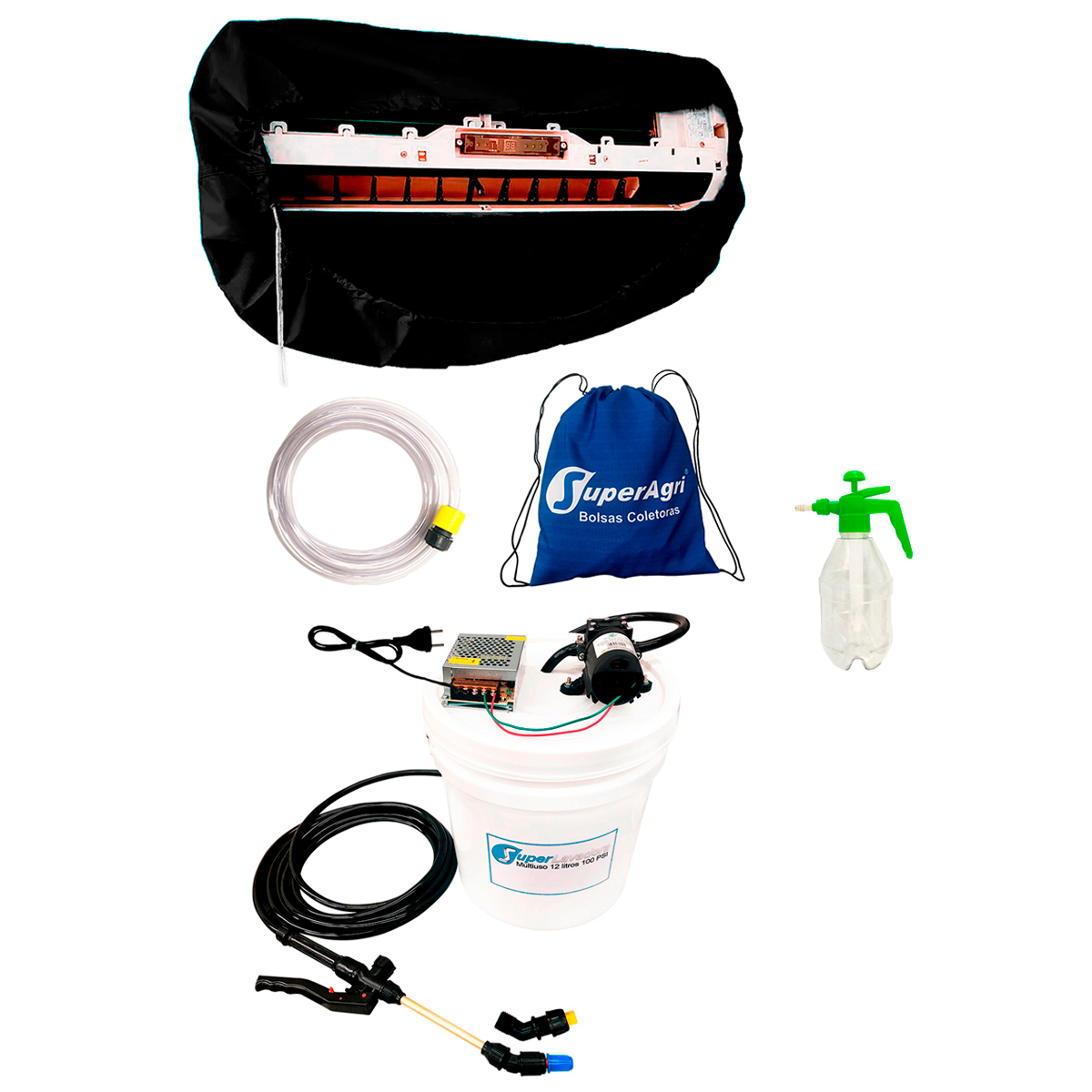 Pulverizador 1,5L SAPPA1,5L + Super Lavadora 12L 100Psi SL12L100P + Bolsa Coletora Split de 18000a36000 BTUS SABC36B
