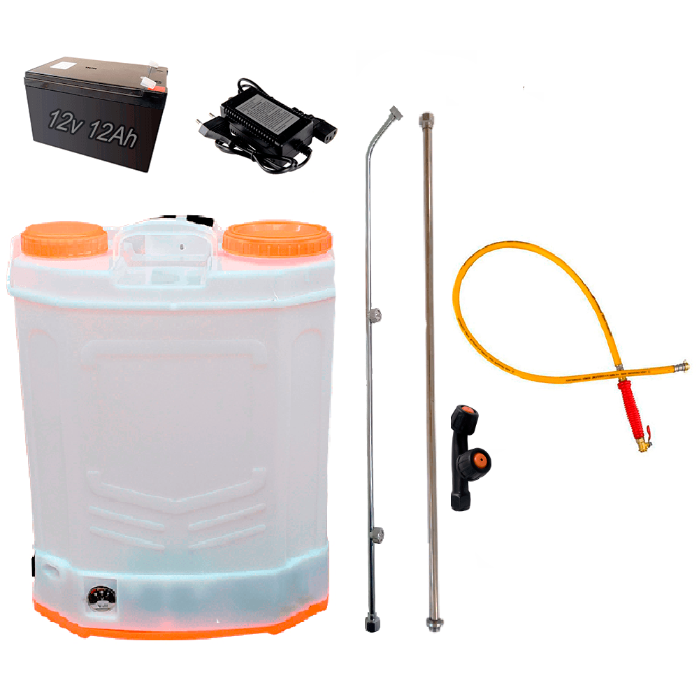 Pulverizador Costal Elétrico 18 a 20 Litros 100 PSI Bateria 12V 12A C/ Mangueira de Alta Pressão e Bico Duplo