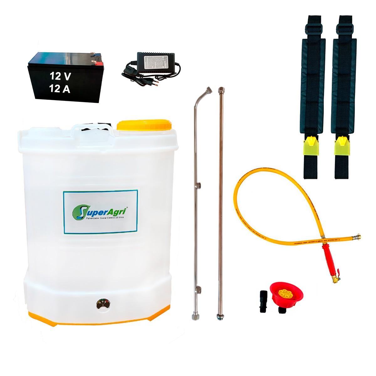 Pulverizador Costal Elétrico 20 Litros 100 PSI Bateria 12V 12A C/ Mangueira de Alta Pressão e Bico Chuveiro